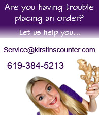 Are you having trouble placing an order? Let us help you. Email service@kirstinscounter.com or call (619) 384-5213.